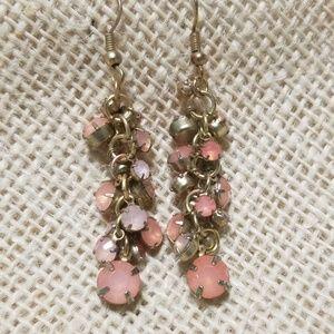 5/$10 Vintage Pink Rhinestone Dangle Earring